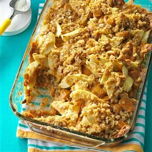 Contest-Winning Caramel Apple Crisp Recipe- Recipes  When my children and I make this scrumptious layered dessert at home, we use a variety of apples to give it a nice combination of flavors. —Michelle Brooks, Clarkston, Michigan