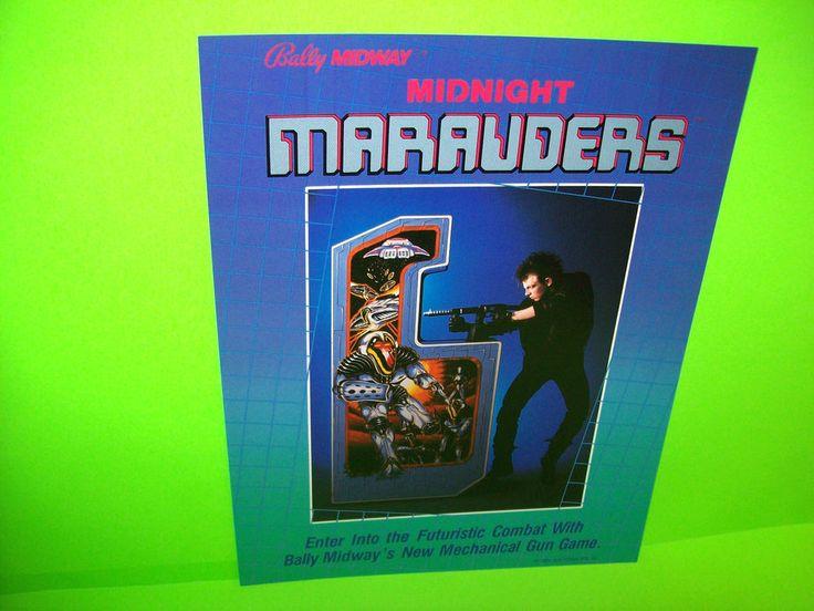 Midway MIDNIGHT MARAUDERS 1984 Original NOS Rifle Gun Arcade Game Machine Flyer  #Midway