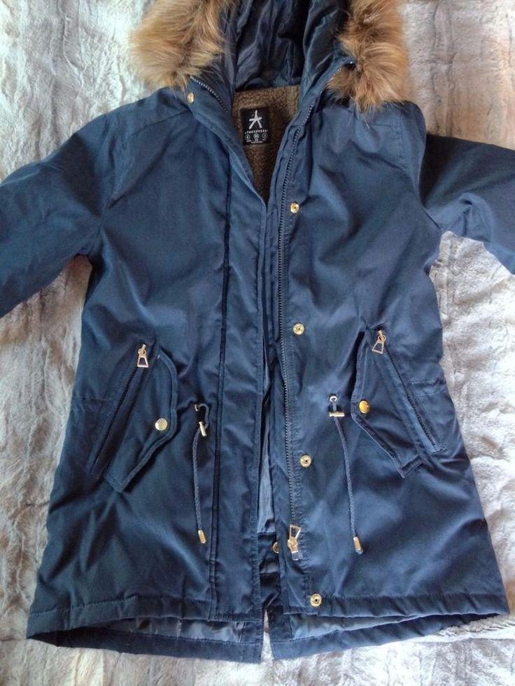 Primark Atmosphere Parka Jacket Blue Fur Hood Usa Size 2