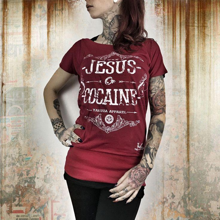 Jesus or Cocaine T-Shirt - Czerwona