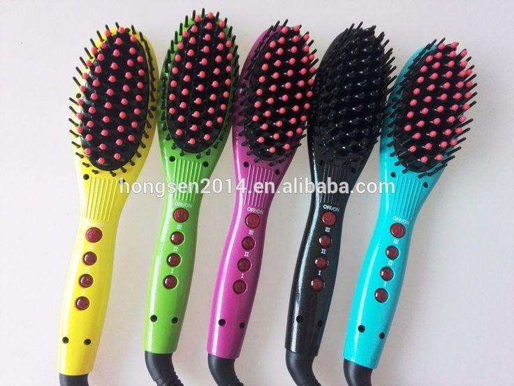 factory price hair straightening brush electric straightening hair brush/ ceramic hair straightner brush