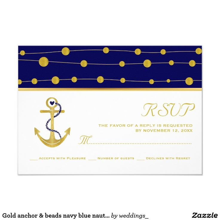 Gold anchor & beads navy blue nautical wedding card Gold foil anchor and beads modern navy blue nautical wedding RSVP response or reply card featuring an anchor made of FAUX gold foil and a pattern border of golden balls that look like beads on the rope on navy blue background. Your text is in gold on white. This elegant, stylish and contemporary wedding design is a completely customizable template and is part of a wedding collection or set perfect for a summer beach wedding . Note that…