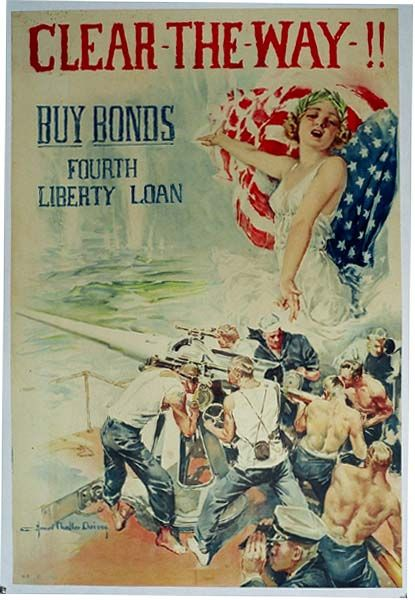 American Buy Bonds Poster, 1918 -- Clear the Way -- Featuring the Navy.