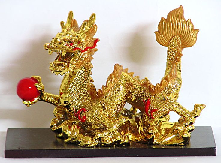 Golden Chinese Dragon Holding Red Ball (Poly Resin)