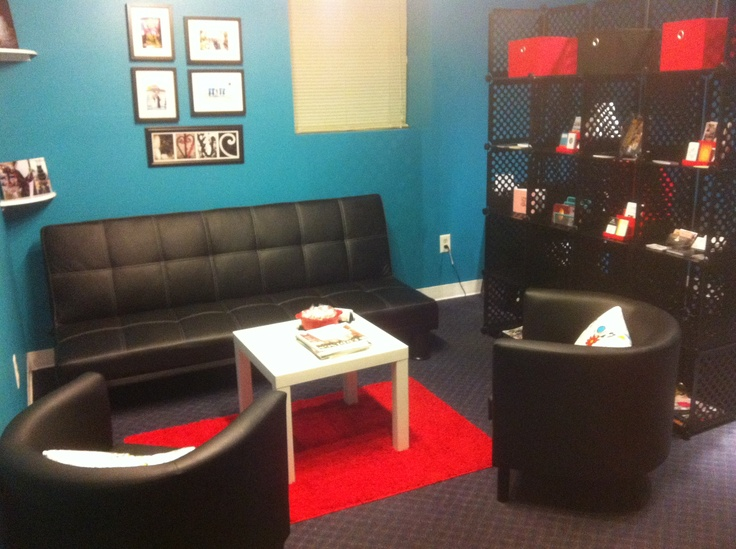 The waiting area in the front room and our office area to the right.  Designed by Flawless Occasions.