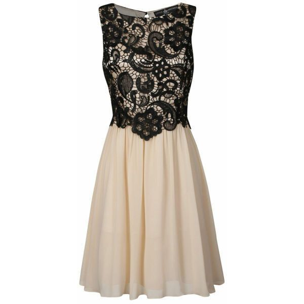 Little Mistress Women's Lace Overlay Prom Dress ($53) found on Polyvore