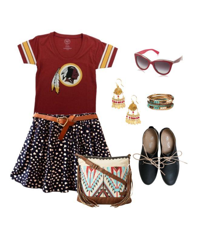 Feminine chic outfit for Washington Redskins Game | Football Fashion