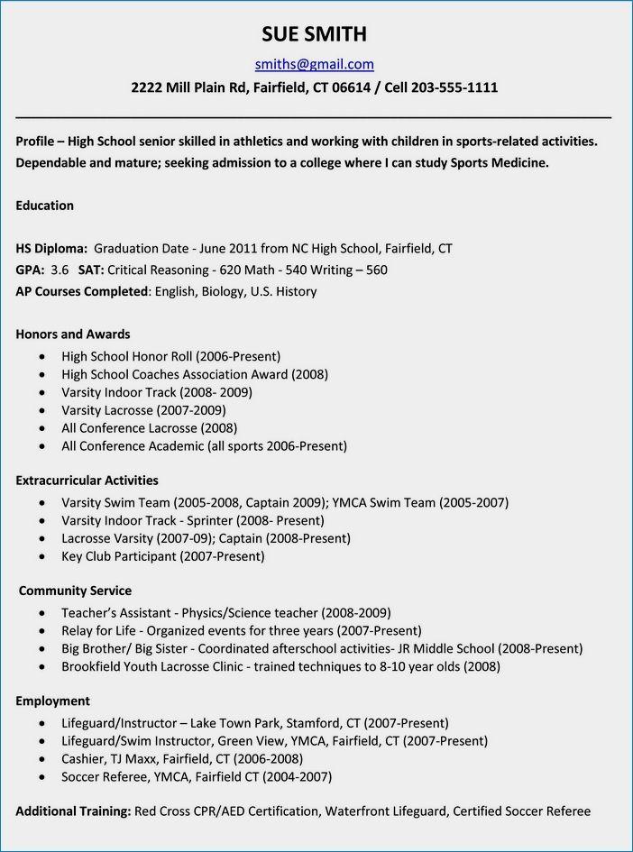 College admission resume