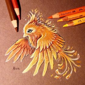 Fire Bird. Dragons and other Mythical Magical Creatures in Fantasy Drawings, come see how it is done. To see more art and information about Alvia Alcedo click the image.