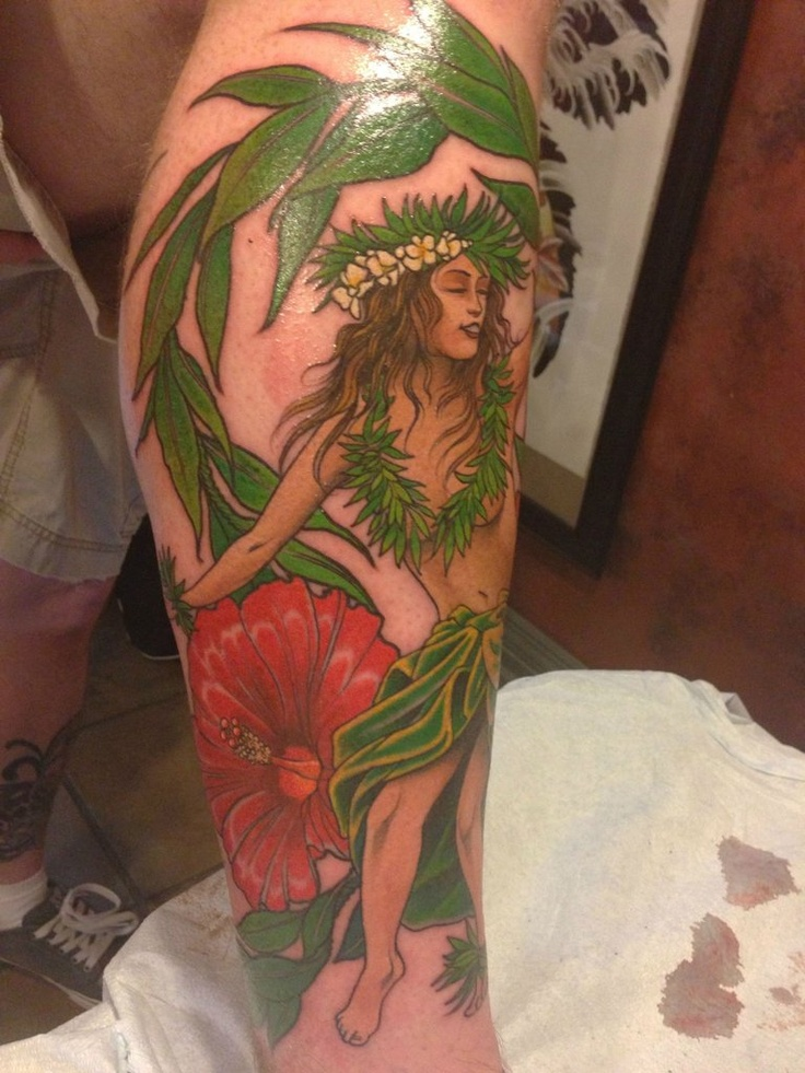 Hula girl - by Brandon Holt of Uptown Tattoo in Minneapolis