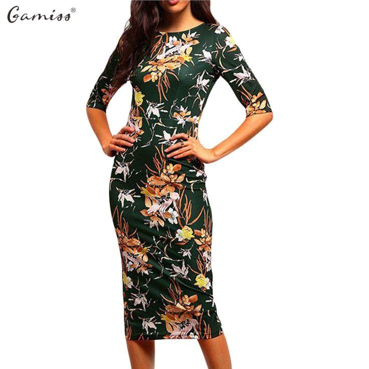 Women Printed Flora Bodycon Dresses Spring Summer O-Neck Elegant Lady Sheath Dress Three Quarter Sleeve Vestidos