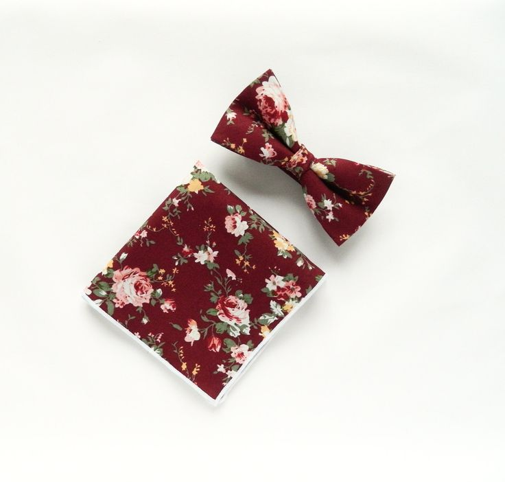 Men's burgundy bow tie floral pocket square Pre-Tied bow tie gift for men Groomsmen burgundy wedding bow tie by TheStyleHubTrends on Etsy