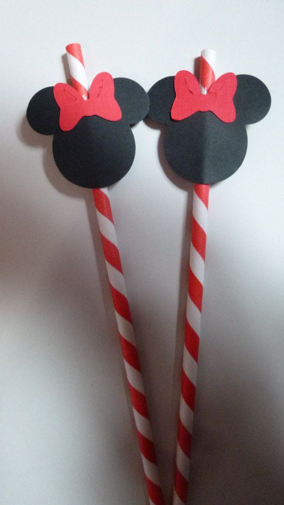 10 Minnie Mouse Red Stripped Paper Straws by HeathersBlankets