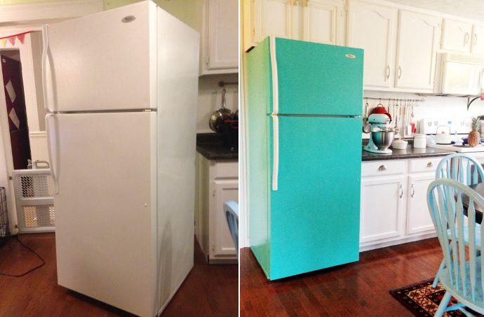 Antes y después de una nevera pintada de turquesa