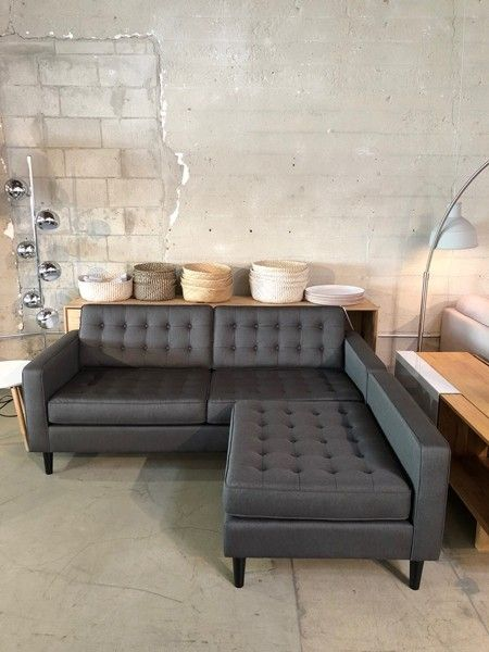 Reverie Fabric Apartment 2 Piece Sectional Sofa With Chaise Black Ash Clearance Viesso
