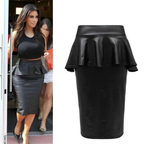 Black Faux Leather Peplum Pencil Skirt