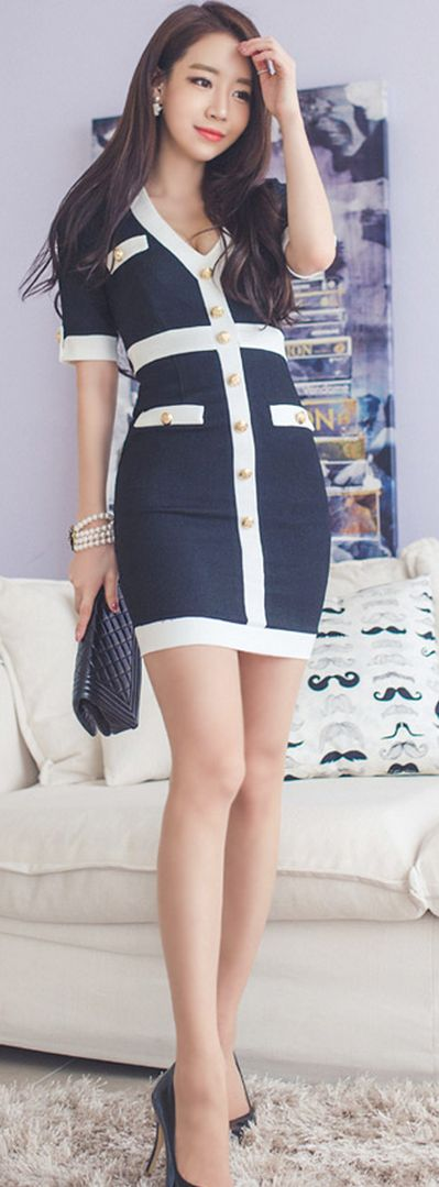 [Korean drama Kpop star fashion] Asian women fashion style Mild button Dress