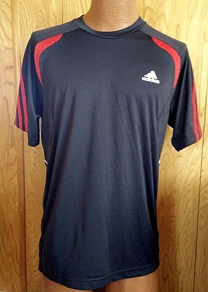Adidas Men's Size M Athletic Workout Shirt Qick Dry Dark Gray Red Logo #adidas #ShirtsTops