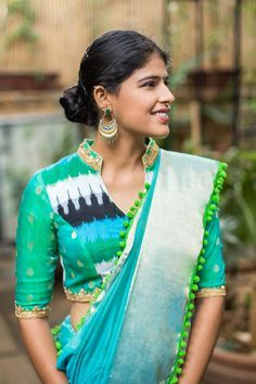 Blue green Ikat and silk chinese collar blouse #blouse #houseofblouse #ikat #seagreen