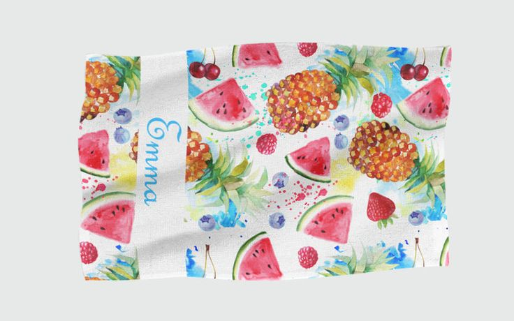Personalised Beach Towel - Tropical Fruit by NJsBoutiqueCo on Etsy