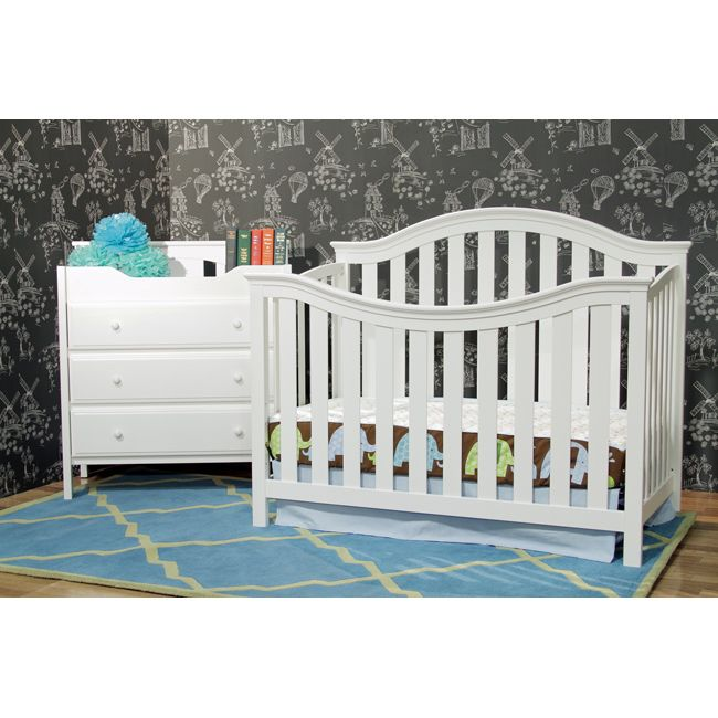 Make your child's bedroom furniture last longer with this white convertible crib with toddler rail. Crafted from sturdy New Zealand pine, the crib comes with the hardware you need to transform it into a toddler bed, daybed, or full size bed.