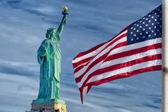 Usa American flag stars and stripes on statue of liberty