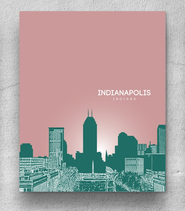 Indianapolis Indiana City Skyline / Office Art Poster / Home Art Hanging / Choose your colors /