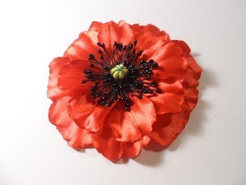 ▶ Мак из атласных лент, Уроки Канзаши для Начинающих / DIY Poppy flower - YouTube