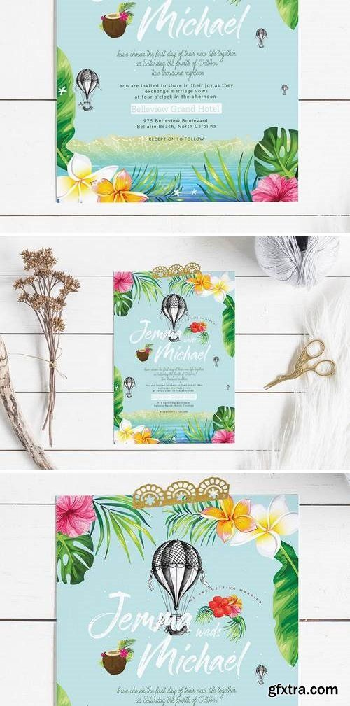 Hawaii Wedding Invitation Card Photoshop Pinterest Wedding