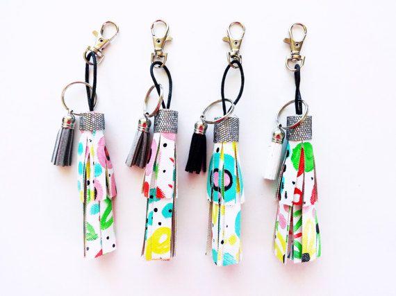 Painted Canvas Tassel Key Chain // Bag Accessories // Purse