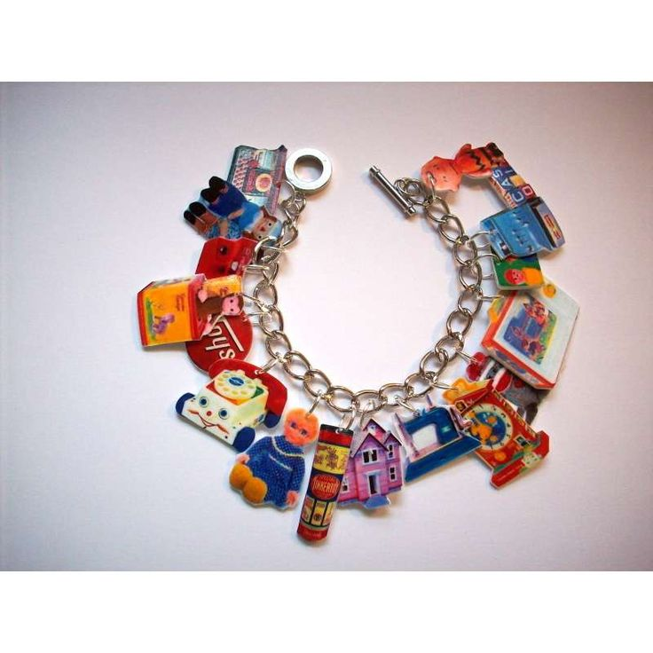 Vintage Toys charm Bracelet-60's-kitsch,UNIQUE,funky - This looks like shrinky Dinks!  How neat!!