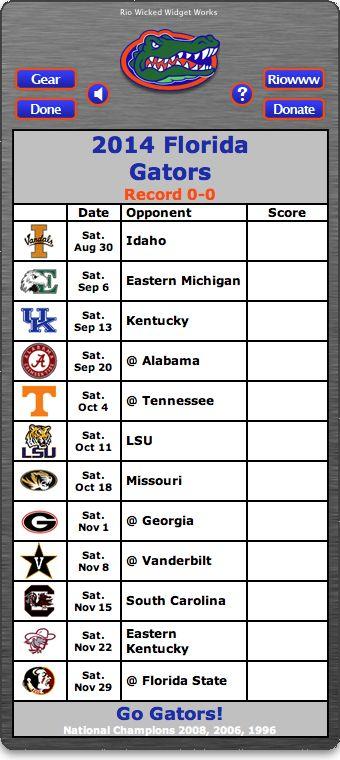 BACK OF WIDGET - Free 2014 Florida Gators Football Schedule Widget - Go Gators! - National Champions 2008, 2006, 1996  http://riowww.com/teamPages/Florida_Gators.htm