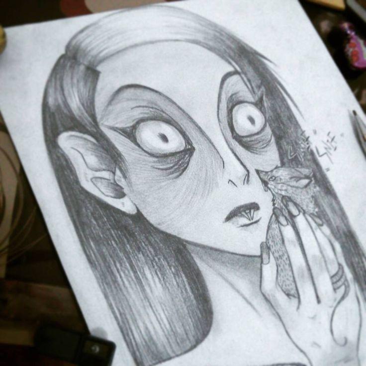 Ilustración  lápiz y grafito. personaje: Nosferatu gilr, diseño personal.