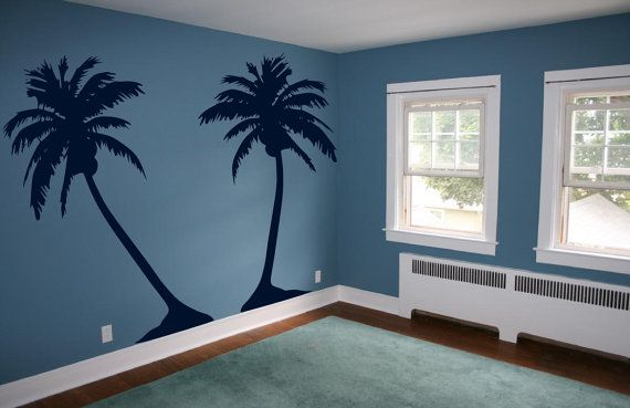 Palm Tree Nursery Decal   Baby Beach Surf Nursery  by 3rdAveShore, $150.00