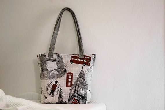 Shoulder bag London canvas bag by TheColourLab on Etsy, $81.00