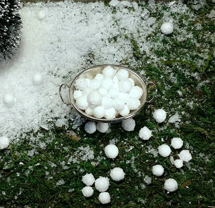 Miniature Snowballs & Galvanized Bucket – Winter Fairy Garden Accessories Christmas DIY Mini Snow Balls Christmas Village Snowball Fight – Villages -fairy