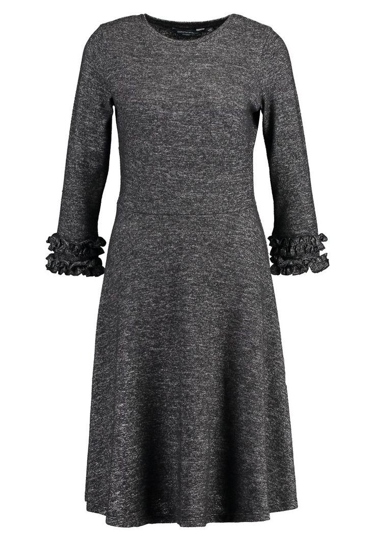 Dorothy Perkins Tall BRUSHED RUCH SLEEVE DRESS - Strikket kjole - charcoal - Zalando.no