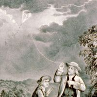 Lightning Rod - Benjamin Franklin invented the lightning rod. A lightning rod is made of metal and is attached to the highest point on a house. The lightning hits the rod instead of the house, and the electrical current from the lightning goes into the ground and leaves the house undamaged. (1752)