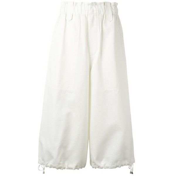 Helmut Lang Culotte Cotton Pants ($522) ❤ liked on Polyvore featuring pants, capris, helmut lang pants, white pants, white trousers, cotton trousers and cotton pants