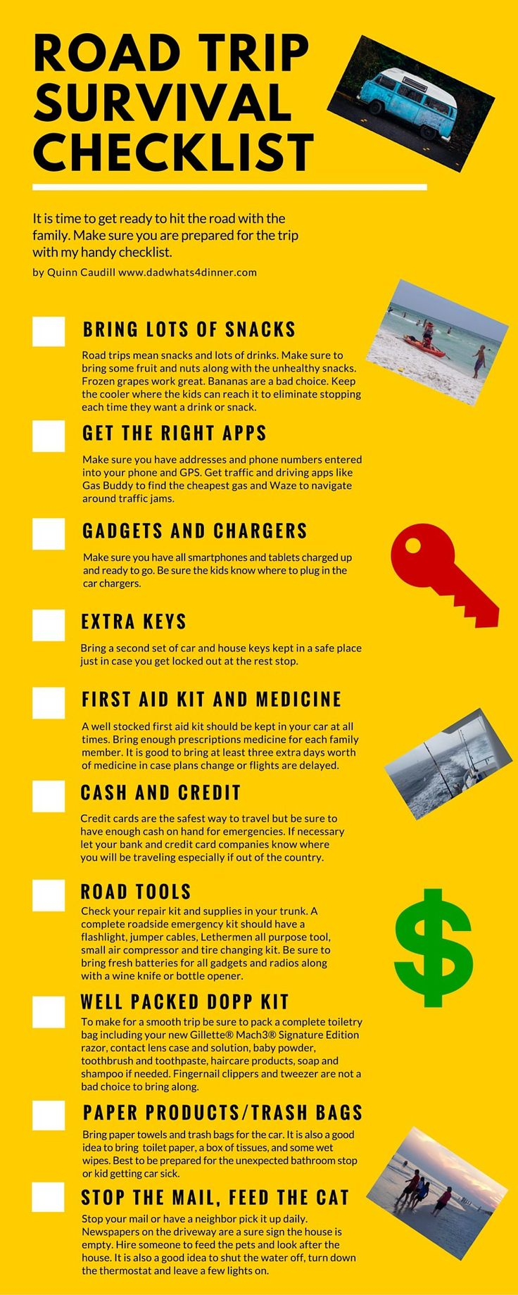 Family road trip survival checklist with free printable