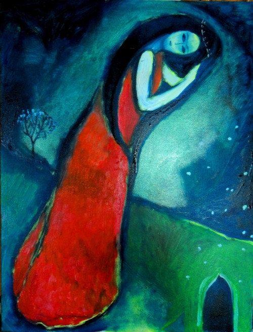 Donna rossa in inverno  olio su tela  di Arsborealis su Etsy