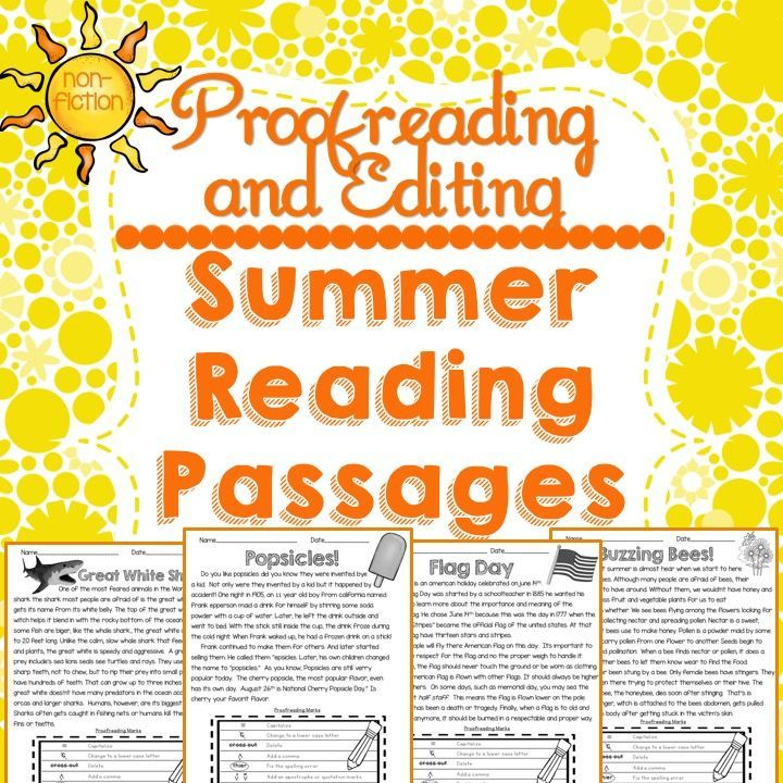 These FREE Proofreading and Editing Reading Passages are a fun way to practice reading comprehension and proofreading at the same time.This product includes 4 non-fiction reading passages for students to proofread and edit.  Each worksheet comes with an editing chart.