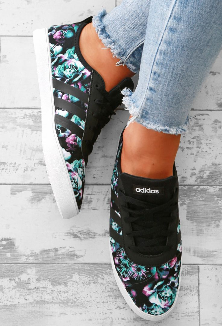 Adidas QT Vulc Black Floral Trainers