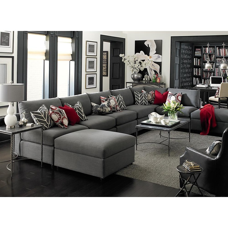 Sectionals U Shaped Love The Colours Of Grey Red Home Ideas Pinterest