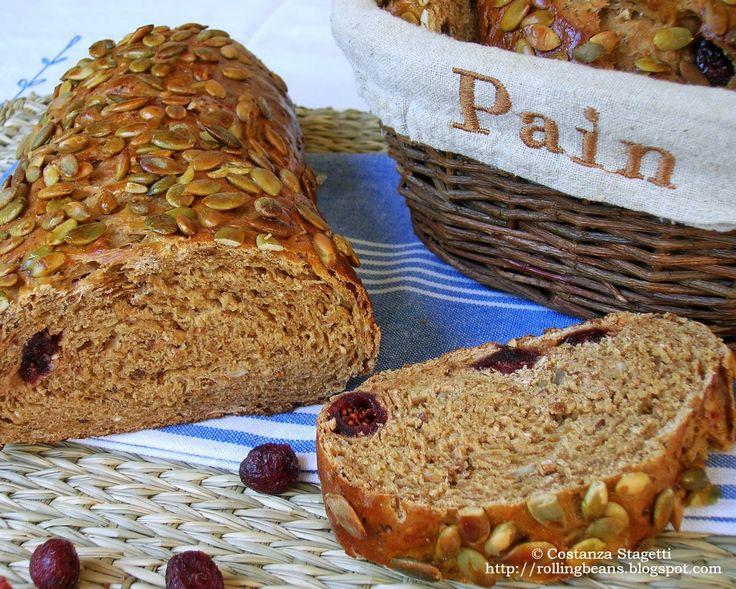 Wholeflour bread with red blueberries Pane integrale ai mirtilli rossi  La scena si svolge in un panificio svedese dove stanno versando in un'enorme impastatrice della farina integrale, semi di girasole, semi di lino, semi di sesamo e...... mirtilli rossi disidratati....... #ricette #pane