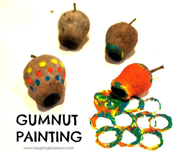 Great open ended activity for toddlers and older children. Painting gumnuts is simple and children can be very creative.