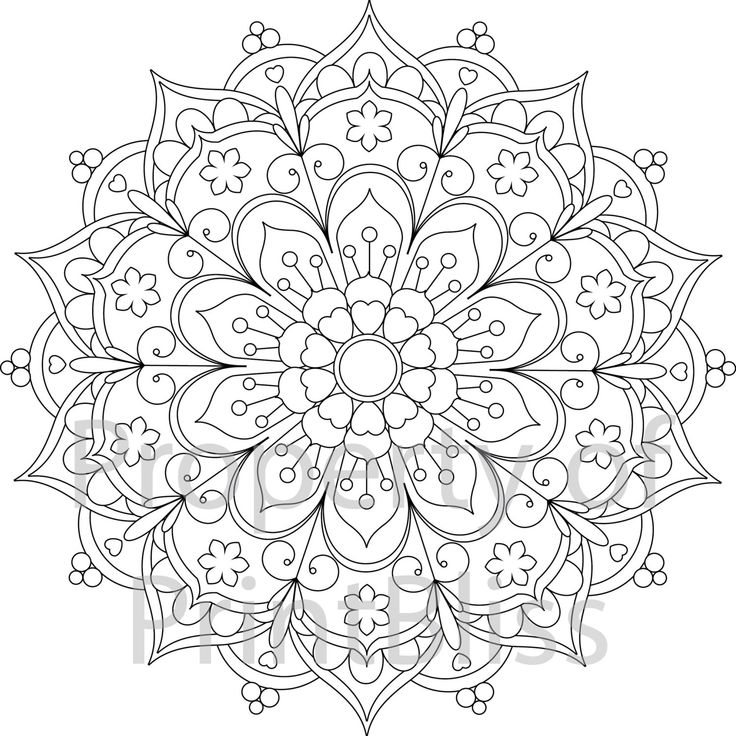 flower mandala printable coloring page by printbliss on etsy - Adult Coloring Pages Mandala