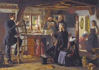 "A Danish painting from 1856, by Christen Dalsgaard, called ""Mormoner på besøg hos en tømrer på landet"", meaning ""Mormons visiting a carpenter in the country""."