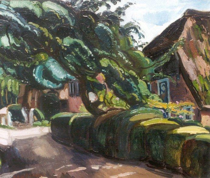 > sluiten  'Dirk' Herman Willem Filarski Amsterdam 1885-1964 Zeist Boerderijen in Giethoorn, olie op doek 56,2 x 65,5 cm., gesigneerd l.o.
