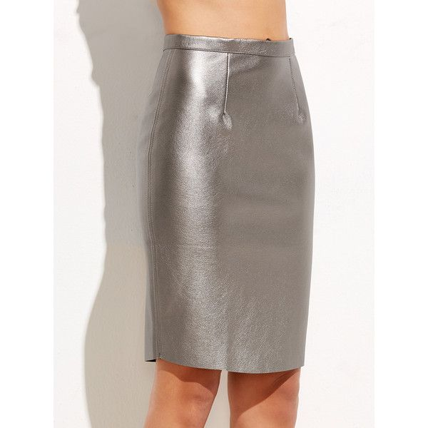 Silver Zipper Back Metal Skirt (€21) ❤ liked on Polyvore featuring skirts, stretch skirts, brown pencil skirt, patterned pencil skirt, summer skirts and silver skirt
